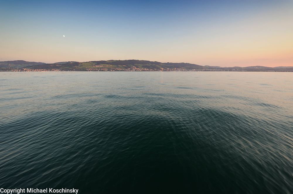 Moonrise over Staad, lake Constance, Switzerland