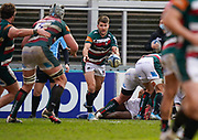 Leicester Tigers scrum-half Richard Wigglesworth passes the ball during a Gallagher Premiership Round 10 Rugby Union match, Friday, Feb. 20, 2021, in Leicester, United Kingdom. (Steve Flynn/Image of Sport)