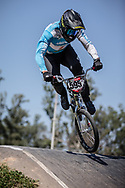 #595 (MOLINA Gonzalo) ARG at round 8 of the 2018 UCI BMX Supercross World Cup in Santiago del Estero, Argentina.