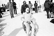 David Kirke with Eric, Dangerous Sports club ski race, St. Moritz. 1985. © Copyright Photograph by Dafydd Jones 66 Stockwell Park Rd. London SW9 0DA Tel 020 7733 0108 www.dafjones.com