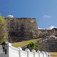 USA, Puerto Rico, San Juan. Castillo de San Cristobal, a walled fortress overlooking San Juan, Puerto Rico.