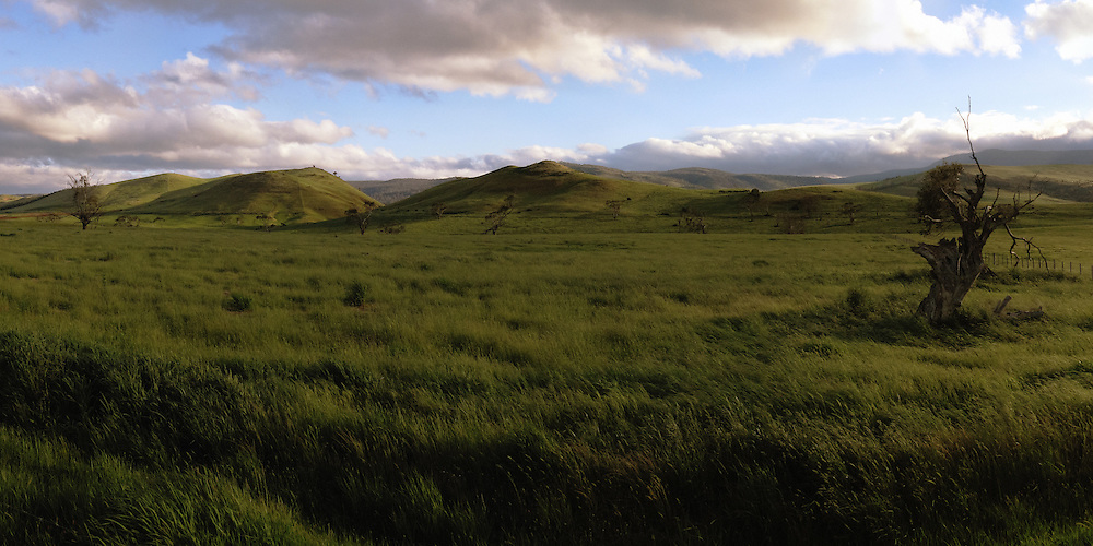Hills in southern central Tasmania at sunset.<br /> <br /> Panoramic image created from multiple exposures.