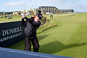 2nd October 2018, The Old Course, St Andrews, Scotland; Alfred Dunhill Links Championship, practice day; Miguel Angel Jimenez Rodríguez tees off at the second hole during  a practice round at the Dunhill Links Championship on The Old Course, St Andrews