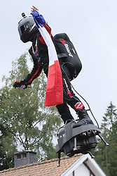 September 1, 2019, Spa Francorchamps, Belgium: Franky Zapata, French inventor, during a demonstration of the Belgian Grand Prix with his Flyboard on the circuit of Spa Francorchamps..Charles Leclerc wins his first Formula One Grand Prix (Credit Image: © Pierre Stevenin/ZUMA Wire)
