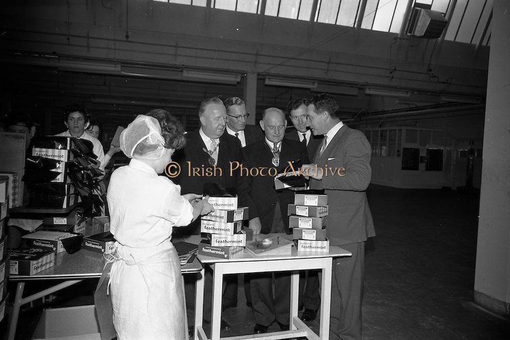 17/04/1963<br /> 04/17/1963<br /> 17 April 1963<br /> Lord Mayor of Birmingham visits Fry-Cadbury factory, Colock, Malahide Road, Dublin. Image shows (l-r): Lord Mayor of Dublin, J.J. O'Keeffe; Arthur Lyle, Joint Managing Director; Lord Mayor of Birmingham, Ernest Horton; Raymond Sellers and Richard Godsil, Joint Managing Directors of Fry-Cadbury (Ireland) Ltd. sampling chocolate on their tour of the factory.