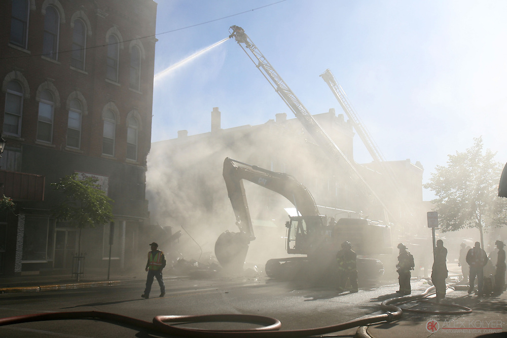 9/13/13--Winona<br /> Smoke engulfs the streets of downtown Winona, Minn. Friday, Sept. 13, 201 as firefighters work to extinguish a fire that destroyed three buildings in the historical area. Photo for MPR News by Alex Kolyer)
