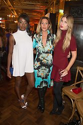 Left to right, AJ ODUDU, LAURA PRADELSKA and FRANCESCA HODGE at the Cointreau Creative Crew Launch at the Cafe Royal, Regent's Street, London on 27th October 2015.
