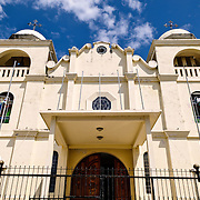 The colonial church sits on the highest point on the small island of  Flores, Guatemala.
