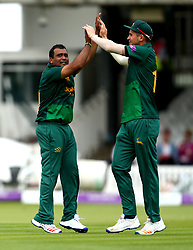 Samit Patel of Nottinghamshire celebrates with Alex Hales after taking the wicket of Ollie Pope of Surrey - Mandatory by-line: Robbie Stephenson/JMP - 01/07/2017 - CRICKET - Lord's Cricket Ground - London, United Kingdom - Nottinghamshire v Surrey - Royal London One-Day Cup Final 2017