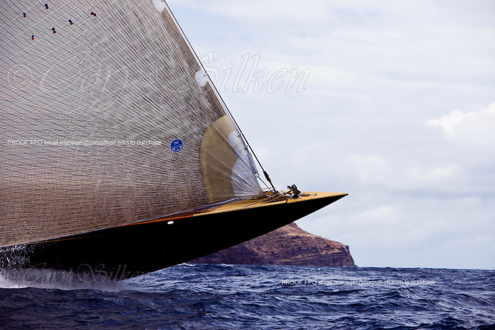 Velsheda, J Class, sailing in the Cannon Race, the third race of the Antigua Classic Yacht Regatta.