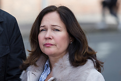 © Licensed to London News Pictures. 28/09/2018. London, UK.  Nadim Ednan-Laperouse's wife Tanya leaves West London Coroner's Court with a photograph of Natasha Ednan-Laperouse following the inquest into the death of Natasha Ednan-Laperouse. Natasha Ednan-Laperouse, aged 15, died on a British Airways flight to from London to Niece, when she fell ill after eating a Pret a Manger sandwich believed to contain sesame.  Photo credit: Vickie Flores/LNP