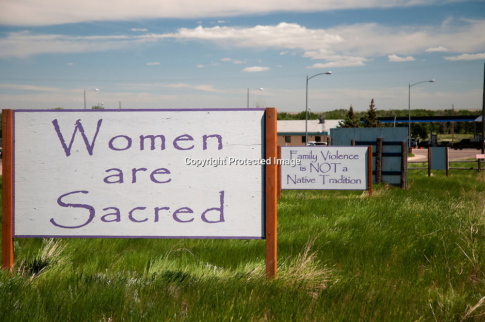 Signs against family violence on the Ft. Belknap Indian Reservation in northern Montana.