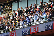 Millwall players celebrate their promotion in the royal box at Wembley. EFL Skybet football league one play off final match, Bradford city v Millwall at Wembley Stadium in London on Saturday 20th May 2017.<br /> pic by Steffan Bowen,  Andrew Orchard sports photography.
