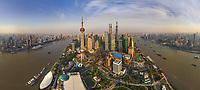Aerial view of the city Shanghai during the day, China