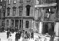 The ruins of Wynn's Hotel on Lower Abbey St after it was destroyed by fire during the Rising. In 1914 it had hosted one of the inaugural meetings of the Irish Volunteers. (Part of the Independent Newspapers Ireland/NLI Collection)