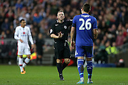 Referee Jonathan Moss gives  a warning to John Terry, the Chelsea captain. The Emirates FA cup, 4th round match, MK Dons v Chelsea at the Stadium MK in Milton Keynes on Sunday 31st January 2016.<br /> pic by John Patrick Fletcher, Andrew Orchard sports photography.