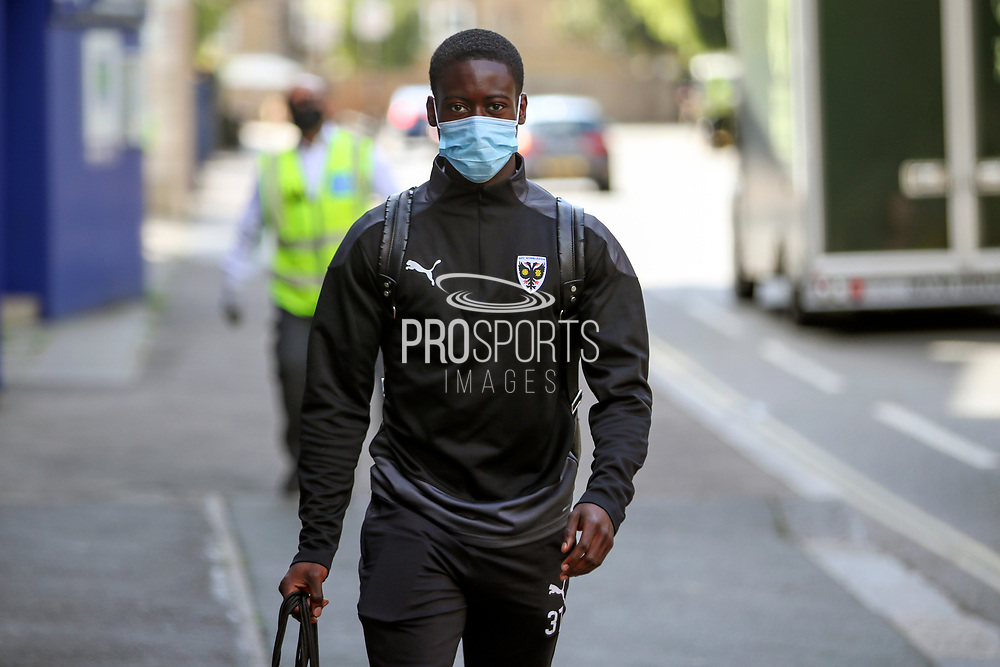 AFC Wimbledon defender Paul Osew (37) arriving for the game during the EFL Trophy Group O match between AFC Wimbledon and Charlton Athletic at the Kiyan Prince Foundation Stadium, London, England on 1 September 2020.