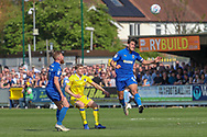 AFC Wimbledon defender Will Nightingale (5) winning header during the EFL Sky Bet League 1 match between AFC Wimbledon and Bristol Rovers at the Cherry Red Records Stadium, Kingston, England on 19 April 2019.