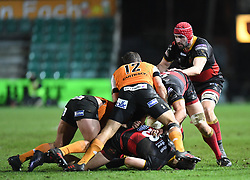 Dragons' Cory Hill<br /> <br /> Photographer Mike Jones/Replay Images<br /> <br /> Guinness PRO14 Round Round 18 - Dragons v Cheetahs - Friday 23rd March 2018 - Rodney Parade - Newport<br /> <br /> World Copyright © Replay Images . All rights reserved. info@replayimages.co.uk - http://replayimages.co.uk