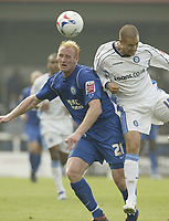 Photo: Aidan Ellis.<br /> Rochdale v Wycombe Wanderers. Coca Cola League 2. 16/09/2006.<br /> Wycombe's Jonny Dixon puts pressure on Rochdale's (L) James Sharp