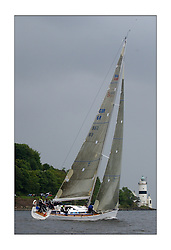 Yachting- The first days racing  of the Bell Lawrie Scottish series 2003 at Gourock.  The wet start looks set to last for the overnight race to Tarbert...Keith Miller's new Swan 45 ' Crackerjack' by Cloch Lighthouse. Class One...Pics Marc Turner / PFM
