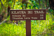 Interpretive sign on the Kilauea Iki trail, Hawaii Volcanoes National Park, Hawaii USA
