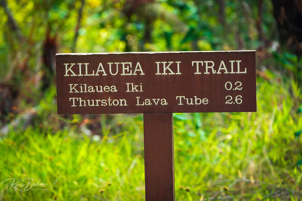 Interpretive sign on the Kilauea Iki trail, Hawaii Volcanoes National Park, Hawaii USA