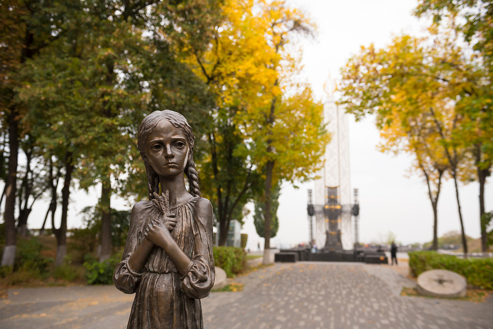 A statue of a young girl is part of the famine memorial in Kiev, Ukraine. Officially called the Memorial in Commemoration of Famines' Victims in Ukraine, it commemorates the victims of three famines in Ukraine: the Holodomor of 1932-1933 and the lesser-known famines of 1921-1922 and 1946-1947. The memorial was opened in 2008.