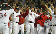 The Boston Red Sox celebrate David Ortiz' two-run, walk-off homer to beat the Angels in the tenth inning Friday October 8, 2004 in Game 3 of the American League Division Series at Fenway Park in Boston, Mass.
