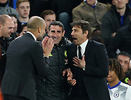 Chelsea's Antonio Conte tussles with Manchester City's Pep Guardiola during the Premier League match at the Stamford Bridge Stadium, London. Picture date: April 5th, 2017. Pic credit should read: David Klein/Sportimage