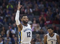 December 31, 2017 - Sacramento, CA, USA - The Memphis Grizzlies' Tyreke Evans (12) celebrates a 3-point basket against the Sacramento Kings on Sunday, Dec. 31, 2017, at the Golden 1 Center in Sacramento, Calif. (Credit Image: © Hector Amezcua/TNS via ZUMA Wire)