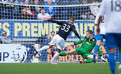 Falkirk's Rory Loy shots past Morton's keeper Derek Gaston scoring their second goal.<br /> half time : Falkirk 2 v 0 Morton, Scottish Championship 17/8/2013.<br /> ©Michael Schofield.