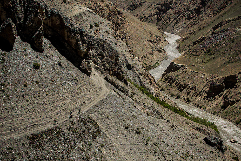 There was no shortage of off-camber, exposed trail during our 12 days riding. It made for challenging and nerve-racking riding, often where a fall would spell calamity. Day 2, high above the churning Wakhan river.