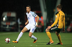 England's Jordan Henderson (left) in action with Lithuania's Vykintas Slivka during the 2018 FIFA World Cup Qualifying Group F match at the LFF Stadium, Vilnius.