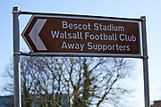 Away fans sign outside the Banks's Stadium before the EFL Sky Bet League 2 match between Walsall and Crawley Town at the Banks's Stadium, Walsall, England on 18 January 2020.