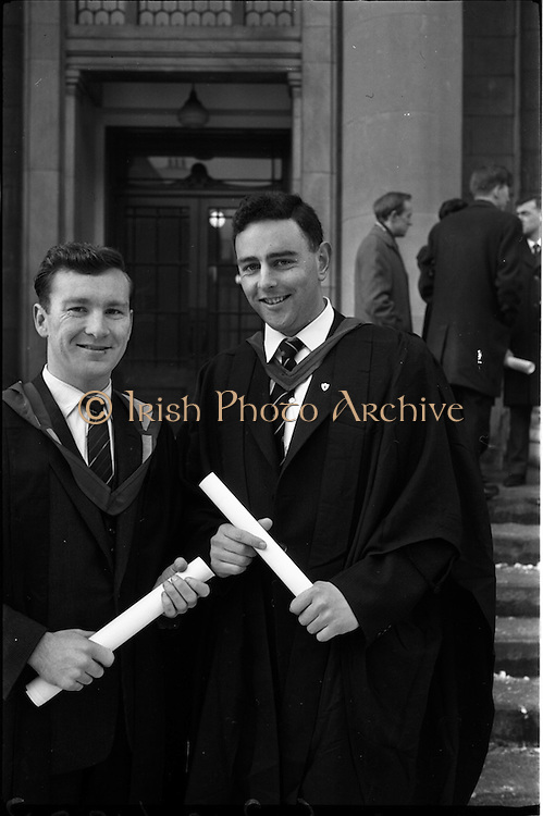 12/01/1963<br /> 01/12/1963<br /> 12 January 1963<br /> Degrees at UCD, Dublin. Mr Richard Quealy, (left) of St. Anthony's, Dungarvan, Co. Waterford and Mr. Michael O'Hanlon of 16 Patrick Street, Listowel, Co. Kerry who received the degree B.D.S. at the conferring.