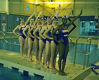 Aqualina Stevenage synchronised swimmers perform for Sport Relief <br /> <br /> Photo by Kieran Galvin/CameraSport<br /> <br /> Sport Relief publicity shoot  - Aqualina Stevenage synchronised swimmers - Friday 7th March 2014 - Stevenage Swimming Centre - Stevenage<br /> <br /> © CameraSport - 43 Linden Ave. Countesthorpe. Leicester. England. LE8 5PG - Tel: +44 (0) 116 277 4147 - admin@camerasport.com - www.camerasport.com