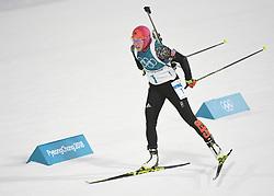 PYEONGCHANG, Feb. 12, 2018  Germany's Laura Dahlmeier competes during women's 10km pursuit event of biathlon at the 2018 PyeongChang Winter Olympic Games at Alpensia Biathlon Centre in PyeongChang, South Korea, on Feb. 12, 2018. Laura Dahlmeier claimed champion in a time of 30:35.3. (Credit Image: © Wang Haofei/Xinhua via ZUMA Wire)