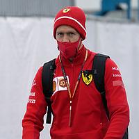 08.10.2020, Nürburgring, Nürburg, Formula 1 Aramco Grosser Preis der Eifel 2020<br /> , im Bild<br />Sebastian Vettel (GER#5), Scuderia Ferrari kommt mit einem Elektroscooter in das Fahrerlager.<br /> <br /> Foto © nordphoto / Bratic