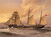 HMS Thrush,  1st class British gunboat.  Illustration by William Frederick Mitchell. Lithograph. 1892.
