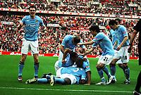 Wembley Stadium Manchester City  v Manchester United FA Cup Semi Final 16/04/2011<br />Manchester City celebrate Yaya Toure's opening goal<br />Photo: Robin Parker Fotosports International