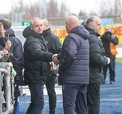 Dundee United's manager Ray McKinnon and Falkirk's manager Peter Houston at the start. Falkirk 3 v 0 Dundee United, Scottish Championship game played 11/2/2017 at The Falkirk Stadium.