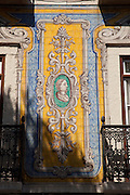 An azulejo, the glazed ceramic tilework famous in the area, in Lisbon, Portugal