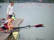 Plovdiv, Bulgaria, 9th May 2019, FISA, Rowing World Cup 1,  W2-, USA, USA4, (s) Emily HUELSKAMP, (b) Olivia COFFEY, preparing to boat, for training outing. <br /> [© Peter SPURRIER]