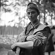 Recently freed concentration camp inmate shows the number tatooed on his arm. Gunskirchen Lager camp, liberated by the 71st Division, Lambach, Austria