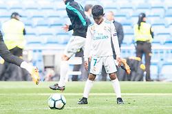 Real Madrid Cristiano Ronaldo's son, Cristiano Ronaldo Jr. during La Liga match between Real Madrid and Atletico de Madrid at Santiago Bernabeu Stadium in Madrid, Spain. April 08, 2018. Photo by Borja B.Hojas/AlteRPhotos/ABACAPRESS.COM