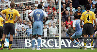 Photo: Paul Thomas.<br /> Manchester City v Arsenal. The Barclays Premiership. 26/08/2006.<br /> <br /> Joey Barton (8) scores for Man City.