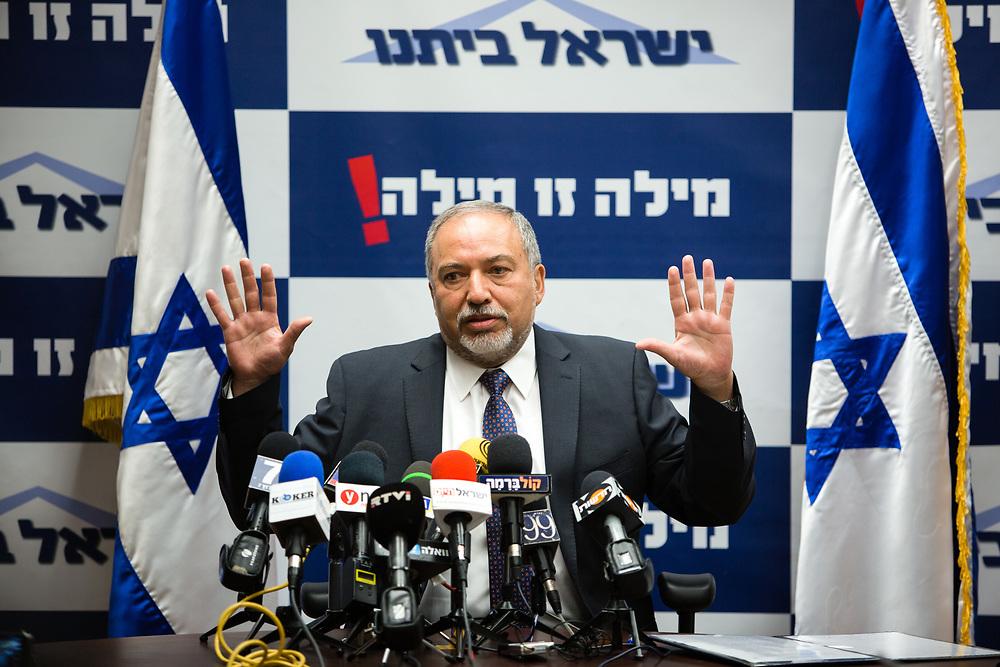 Israeli lawmaker and Leader of Yisrael Beytenu party, Avigdor Lieberman, speaks during Yisrael Beytenu faction meeting at the Knesset, Israel's parliament in Jerusalem, on May 18, 2016.