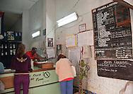 Ration board inside market, Havana, Cuba