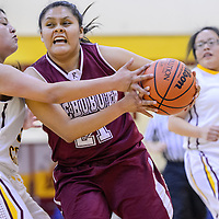 021215       Cable Hoover<br /> <br /> Rehoboth Lynx Amanda Martin (21) pushes past Tohatchi Cougar Cheyenne Begay (30) Thursday at Tohatchi High School.